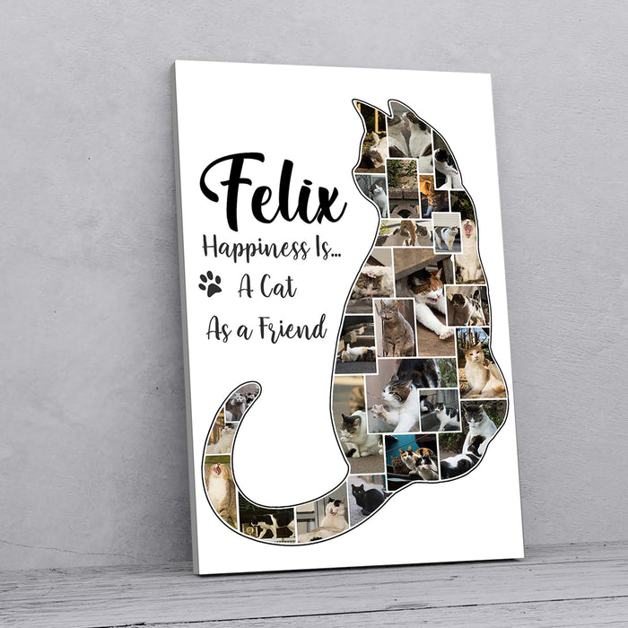 Custom Photo Happiness Is A Cat As A Friend Canvas Wall Art