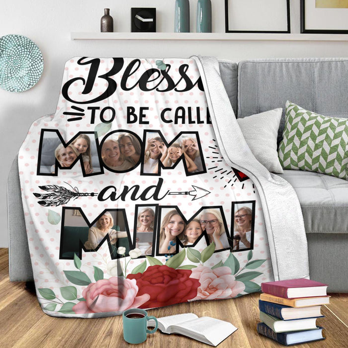 Custom Photo Blesses To Be Called Mom and Mimi Cozy Fleece Blanket