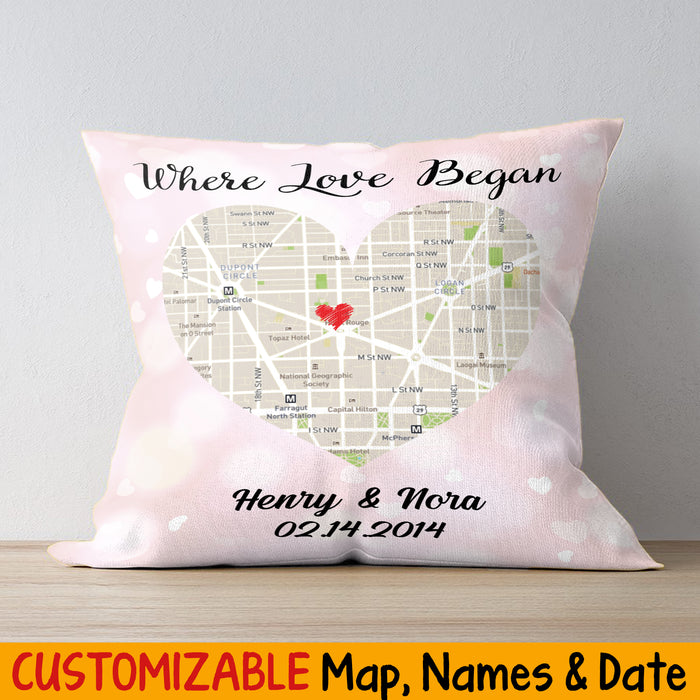 Custom Map Where Love Began Square Pillow Case