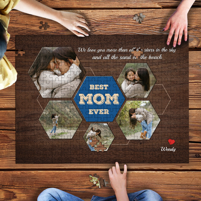 Custom Photo Best Mom Ever Wooden puzzle
