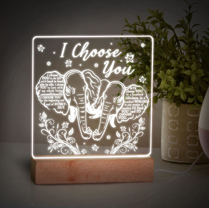 Elephant Couple I Choose You Led Light