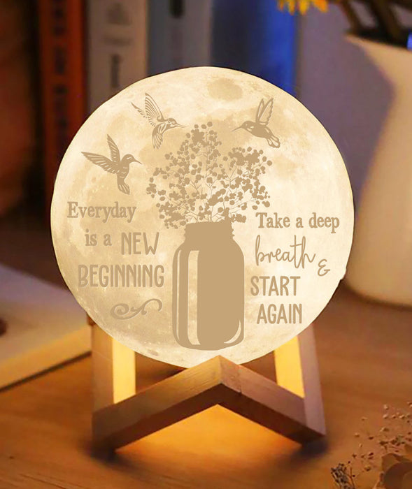 Hummingbird every day is a new beginning Moon lamp