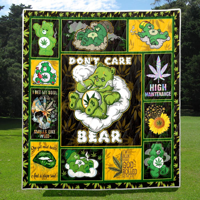 Weed dont care bear Premium Quilt Blanket Size Throw, Twin, Queen, King, Super King