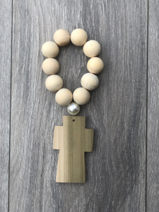Handcrafted Wooden Cross + Pearly Blessing