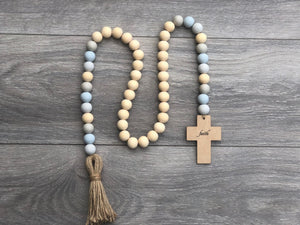 Wooden Faith Cross +Hand painted Garland
