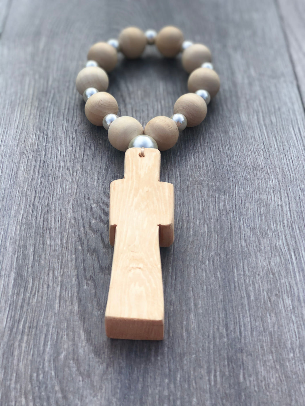 Handcrafted Wooden Cross + Pearl lover