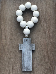 Hand Painted Wooden Cross + Beads