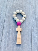 Load image into Gallery viewer, Handcrafted Wooden Cross + Pom Pom