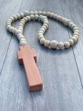 Load image into Gallery viewer, Handcrafted Wooden Cross + Classic Beaded Rosary