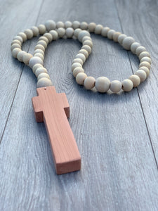 Handcrafted Wooden Cross + Classic Beaded Rosary