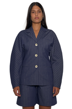 Load image into Gallery viewer, PINSTRIPE SHIRT JACKET
