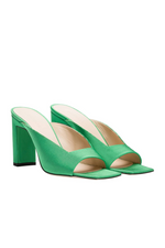 Load image into Gallery viewer, ISA RIBBED SATIN SANDAL IN GREEN