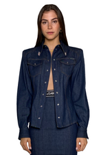 Load image into Gallery viewer, LONG SLEEVE SPORTS SHIRT IN DENIM