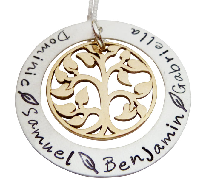 Personalized Family Tree Eternity Circle Necklace