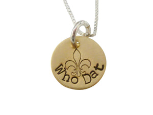 Stamped Brass Nola Who Dat Charm Necklace