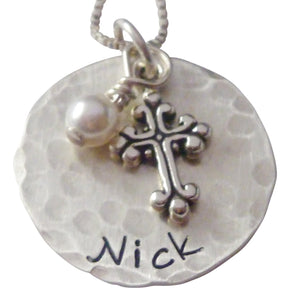 Personalized Hammered Faith Necklace