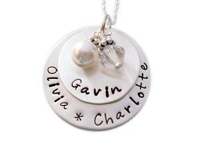 Personalized Stacked Necklace with Pearl
