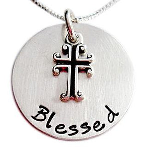 Stamped Blessed Faith Necklace