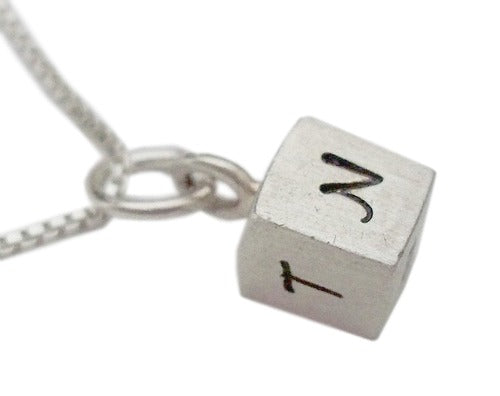 Personalized Hand Stamped Cube of Initials