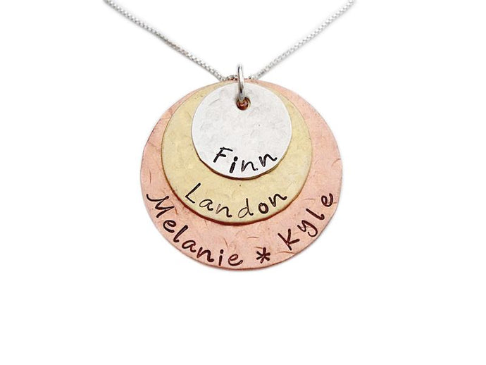 Personalized and Hammered Mixed Metal Necklace