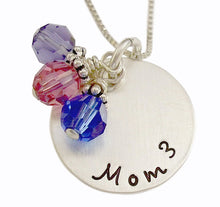 Load image into Gallery viewer, Stamped Mom Cubed Necklace