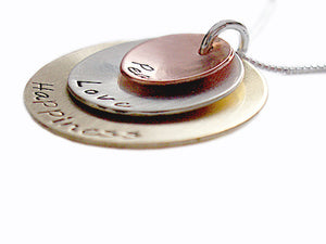 Hand Stamped Domed Mixed Metal Necklace