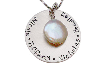 Hand Stamped Necklace with Freshwater Pearl