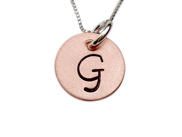 Personalized Stamped Initial Charm Necklace