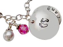 Load image into Gallery viewer, Hand Stamped Locket Charm Bracelet