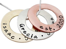 Load image into Gallery viewer, Personalized Mixed Metal Washer Necklace