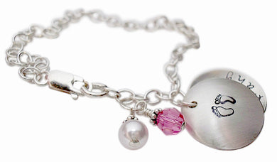 Hand Stamped Locket Charm Bracelet