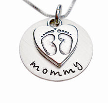 Load image into Gallery viewer, Hand Stamped Baby Footprints Necklace