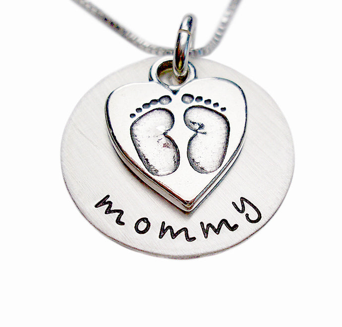 Hand Stamped Baby Footprints Necklace