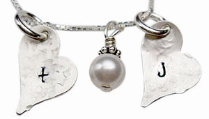 Personalized Hammered Hearts with Pearl Necklace