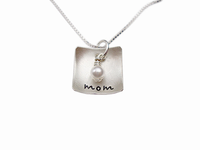 Personalized Domed Square Necklace