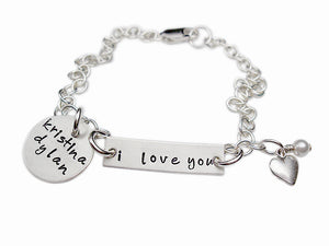 Personalized I Love You Charm Bracelet