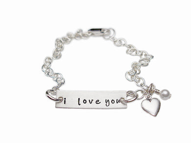 Hand Stamped I Love You Mommy Charm Bracelet