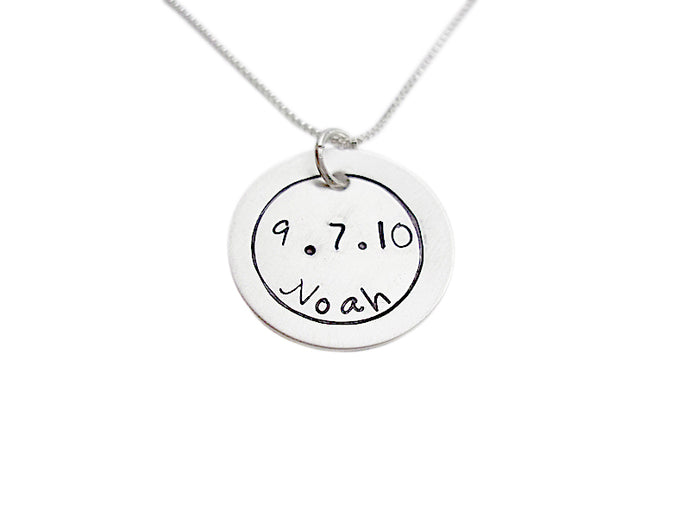 Hand Stamped Name and Birthdate Necklace