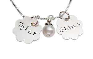 Personalized Flower with Pearl Necklace
