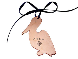 Hand Stamped Copper Pelican Ornament