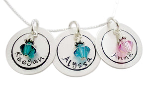 Personalized Hand Stamped Circle Necklace with Birthstones