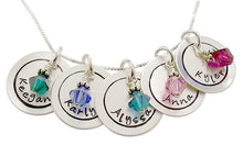 Load image into Gallery viewer, Personalized Hand Stamped Circle Necklace with Birthstones