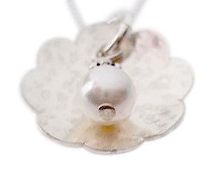 Hammered Flower with Pearl Necklace