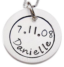 Load image into Gallery viewer, Hand Stamped Name and Birthdate Necklace