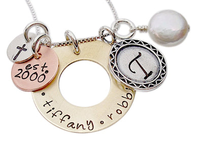 Personalized Mixed Metal Family of Love Necklace