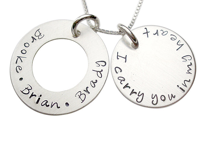 Personalized Washer and Disc Necklace