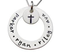 Load image into Gallery viewer, Personalized Sterling Washer with Design Hand Stamped Necklace
