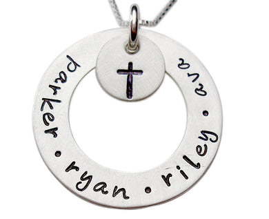 Personalized Sterling Washer with Design Hand Stamped Necklace