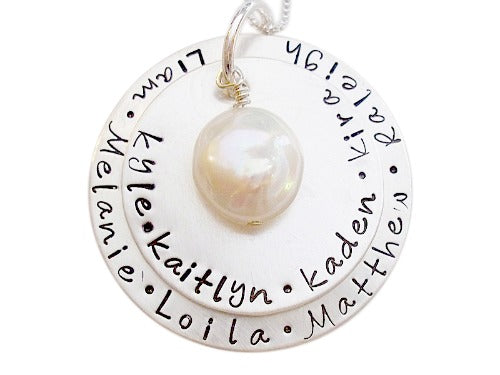 Personalized Stacked Freshwater Coin Pearl Necklace
