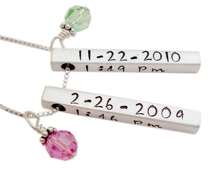 Personalized Birth Bar Necklace
